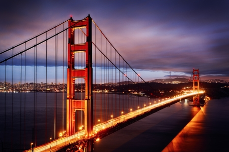 golden gate: Night scene with Golden Gate Bridge and San Francisco lights
