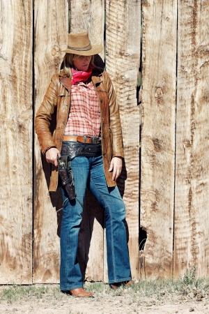 western wear: Portrait of a cowgirl  Western movie style