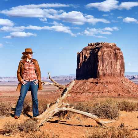 cowgirl at Monument Valley, Utah, USA photo