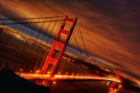 Night scene with Golden Gate Bridge and San Francisco lights
