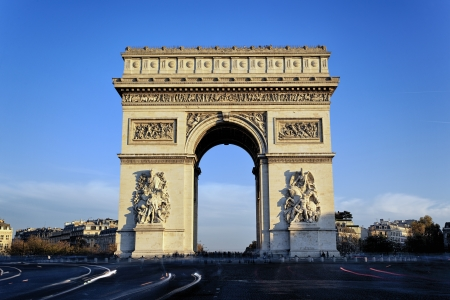 Arc de Triomphe: view of famous Arc de Triomphe, Paris, France Stock Photo