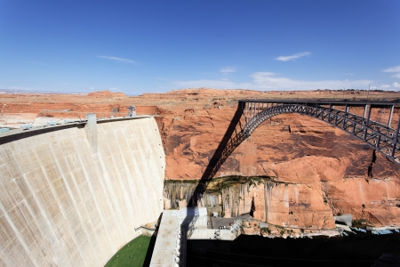 view of the Glen Dam and bridge in Page, Arizona, USA Stock Photo - 16099819