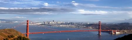 panoramic view of Golden Gate Bridge in San Francisco, California, USA