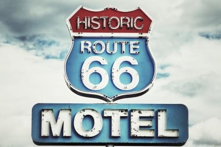 desert highway: Motel sign on Route 66 USA  Stock Photo