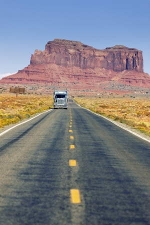 truck on Road to Monument Valley, Arizona  photo