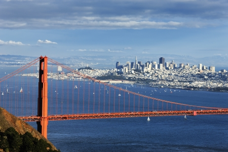 san francisco golden gate bridge: Golden Gate Bridge and downtown San Francisco