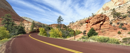zion: mountain road in Zion National Park in the fall  Stock Photo