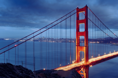 Night scene with famous Golden Gate Bridge and San Francisco lights photo