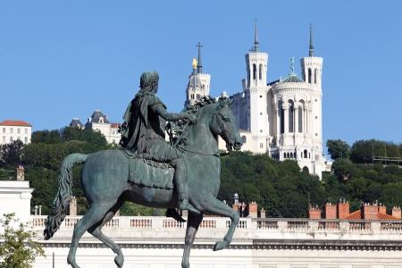 famous statue of Louis XIV and Basilique Fourviere, Lyon
