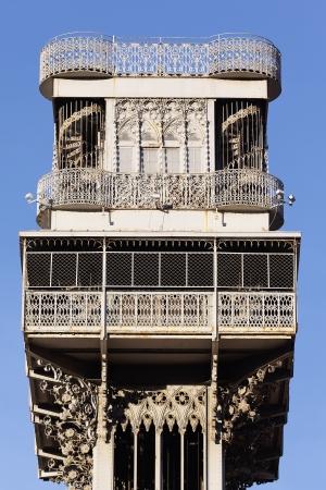 justa: famous Santa Justa Elevator in Lisbon in summer, Portugal