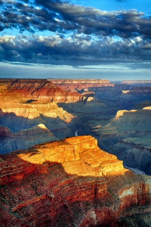 grand canyon national park: vertical view of Grand Canyon at sunrise in september