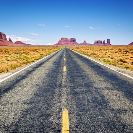 forrest: Long road to the Monument Valley, Arizona Stock Photo