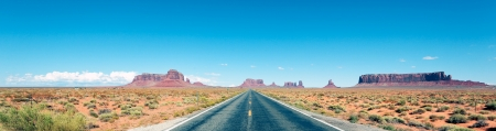 Road to the Monument Valley, panoramic view photo