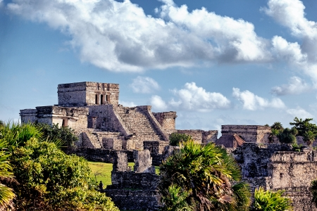 mexico culture: Famous historical ruins of Tulum in Mexico in summer