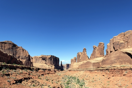 canyonland: Red rocks panorama in Arches National park, Utah  Stock Photo
