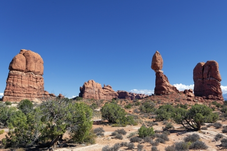 canyonland: famous Red rocks panorama in Arches National park, Utah  Stock Photo
