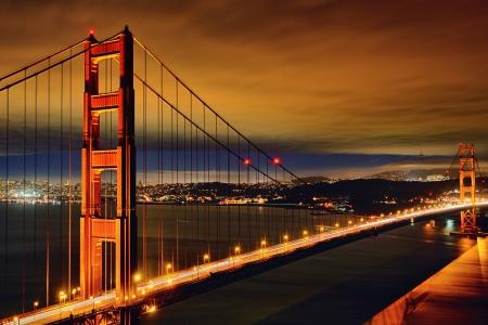 Night scene of Golden Gate Bridge and San Francisco lights