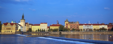 Panoramic view of monuments from the river in Prague.