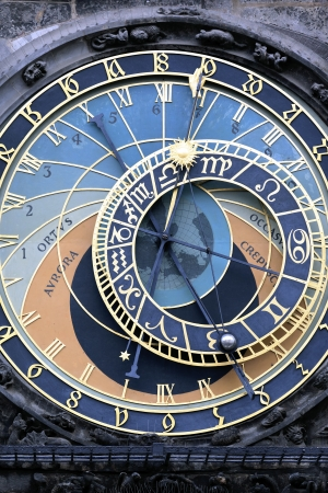 zodiacal: part of famous zodiacal clock in Prague Stock Photo