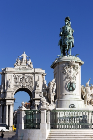 famous statue and arch on commerce square in Lisbon, Portugal Stock Photo - 17298186