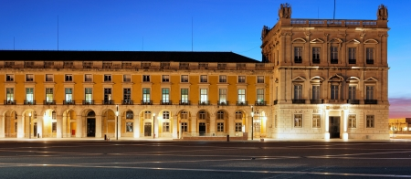 panoramic view of famous commerce square at Lisbon by night
