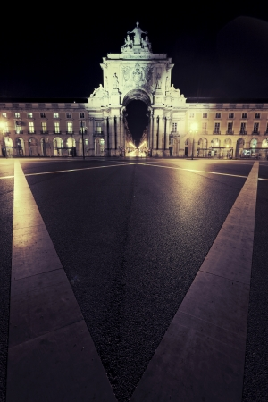 famous stone arch at commerce square at Lisbon by night