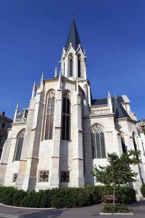 patrimony: famous Saint-Georges church in Lyon city and blue sky