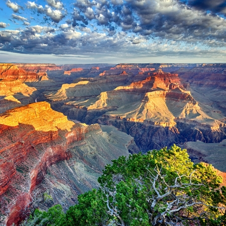 arizona sunset: morning light at Grand Canyon, Arizona, USA Stock Photo