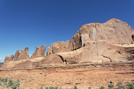 canyonland: view of red rocks in Arches National park, Utah