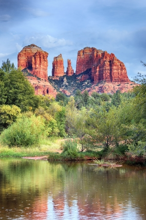 sedona: The view of Cathedral Rock in Sedona, Arizona. Stock Photo