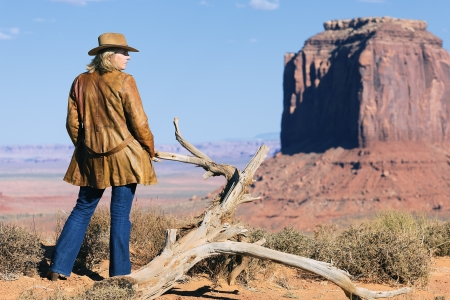 jane: young cowgirl at Monument Valley, Utah, USA