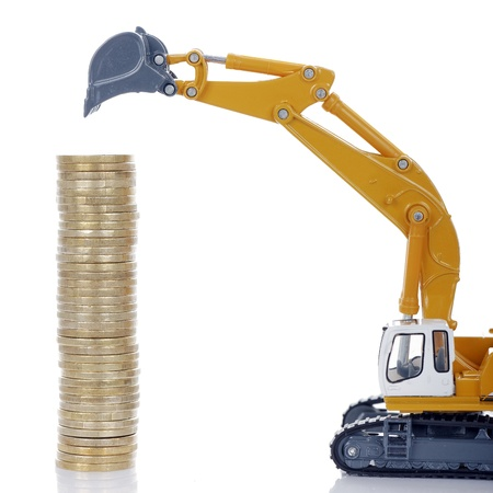 industrie: euro money coins with digger