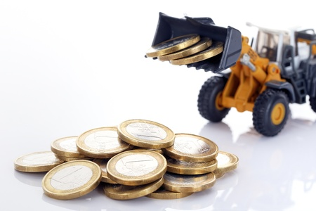 industrie: euro money coins and loader on white background