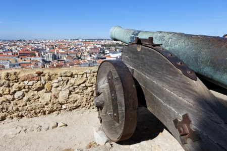 bombshell: famous cannon of Saint George Castle in Lisbon