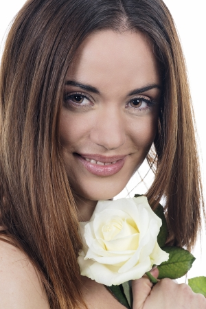 Photo of beautiful woman with white rose  photo
