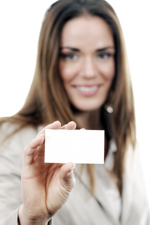 business woman handing a blank business card over white background  photo