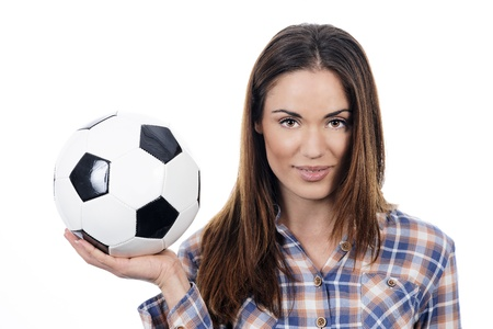 young adult woman with ball over white background  photo