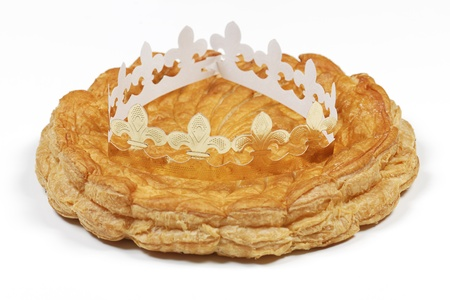 epiphany cake and crown isolated on white background