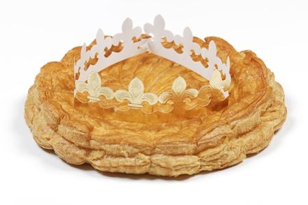 epiphany: epiphany cake and crown isolated on white background