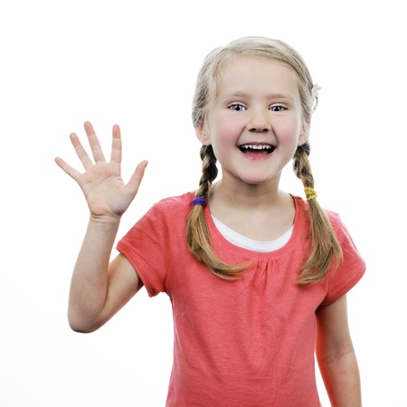 little girl showing her hand up, isolated on white