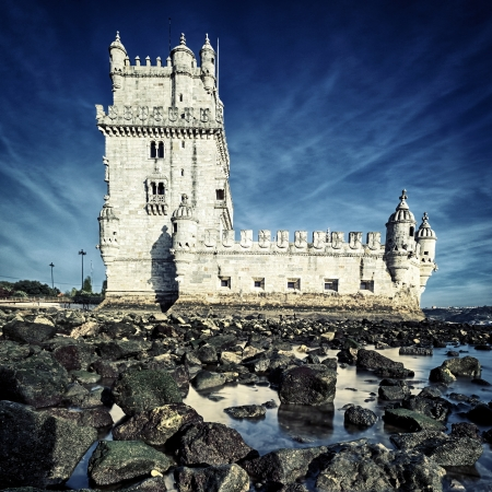 famous Tower of Belem,  Lisbon, Portugal