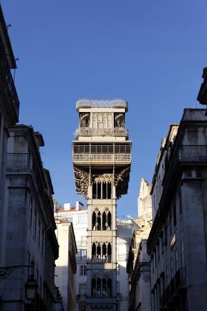 justa: famous Santa Justa Elevator, Lisbon, Portugal Stock Photo