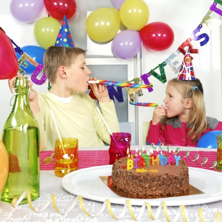 novelties: Two children at birthday party  Stock Photo