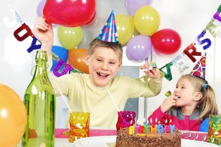 novelties: children at crazy birthday party  Stock Photo