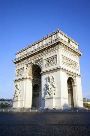 vertical view of famous Arc de Triomphe in Paris