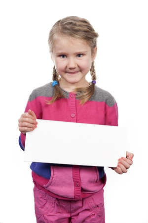 child holding sign: girl with empty horizontal blank on white background