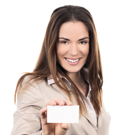 holding business card: business woman holding a blank business card over white background  Stock Photo