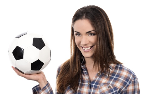 adult woman with ball over white background  photo