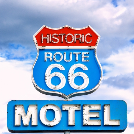view of famous sign on Route 66, USA