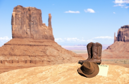 drawingpin: boots and hat in Monument Valley, USA
